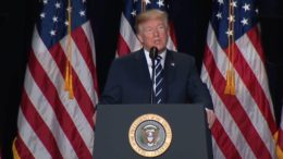 President Donald J Trump honors The United States at the second National Prayer Breakfast under his Administration. Photo Credit to screen capture by Dagger News.