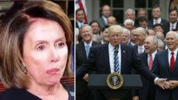 Nancy Pelosi is trolled by Republican lawmakers. Photo credit to Twitter, Rueters, USA For Trump.