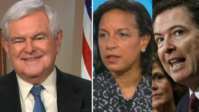 Newt Gingrich gives BLOCKBUSTER summation on the recent Rice email to herself and what it means for the corrupt Obama-era players. Photo credit to Fox News screen captures, News Hub.