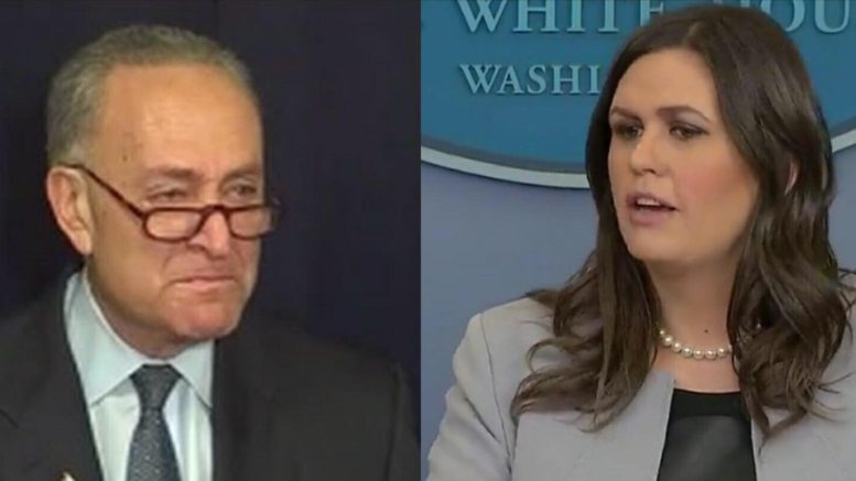 Sarah Sanders exposes Chuck Schumer on his damaging Senate floor tactics. Photo credit to US4Trump screen captures.