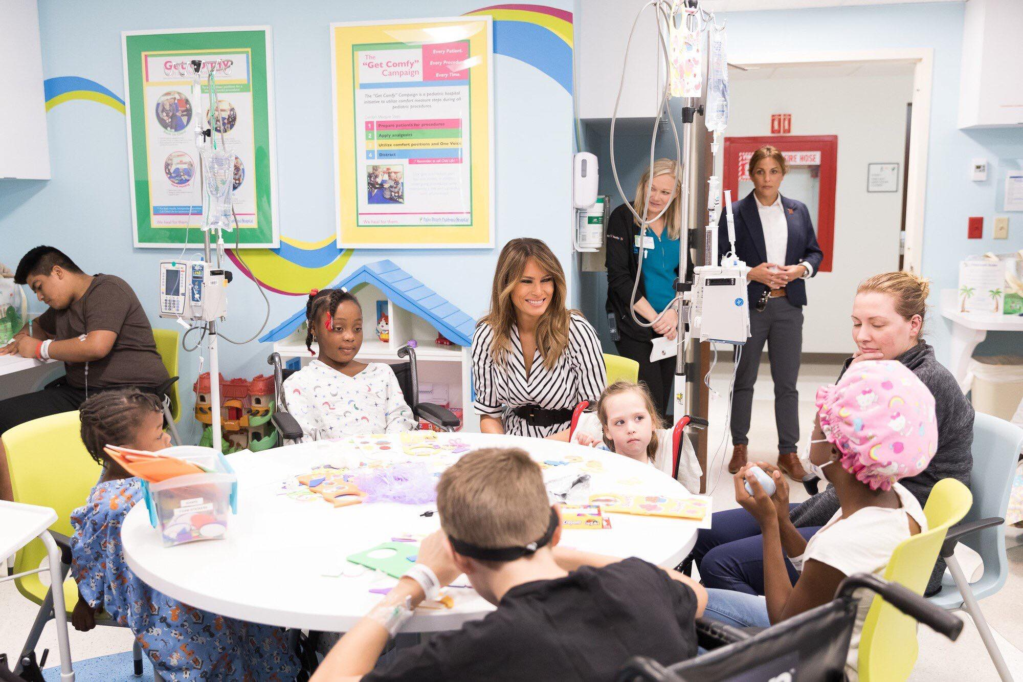 "FLOTUS on Twitter said, ""Enjoyed my visit to @StMarysMC today. So great to spend time with some of their brave patients and hard working doctors and nurses."" Photo credit to White House."