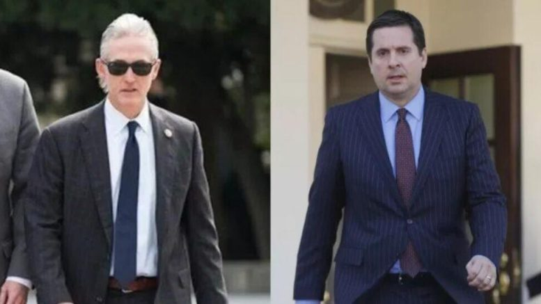 The dynamic duo, Nunes and Gowdy walk away with the win after meeting with Rosenstein. Photo credit to US4Trump screen captures.