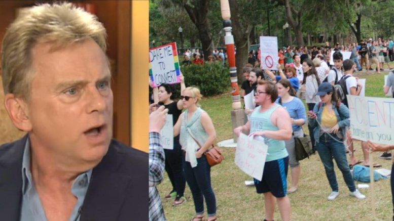 Pat Sajak speaks out on First Amendment rights. Photo credit to WUFT, US4Trump Screen Capture of UF Protest Against Shapiro.