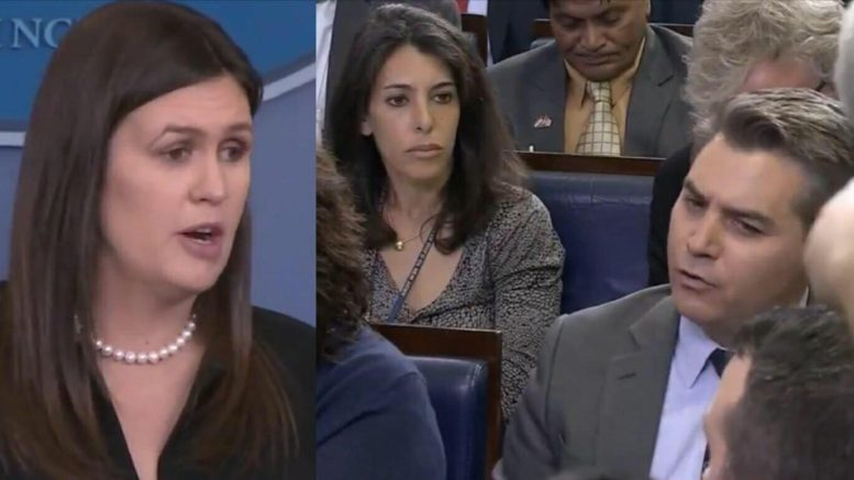 Sarah Sanders holds daily White House Press Conference. 4/25/2018 Photo credit to US4Trump with White House screen shots.