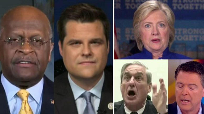 House Intelligence Committee Report discussion with Judge Pirro, Herman Cain and Matthew Gaetz (FL-R). Photo credit to US4Trump compilation with Fox Screen Grab, YouTube Screen Shots and The View Screen Shot.