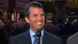 "Donald Trump Jr. sets the internet ablaze with his viral photo and tweet about National ""Take Your Children To Work Day."" Photo credit to US4Trump with Hannity Show screen capture."