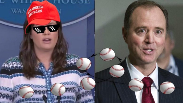 Sarah Sanders throws Schiff the proverbial curveball! Image Source: Video Screen Shots. Edited and Collaborated by US4Trump.