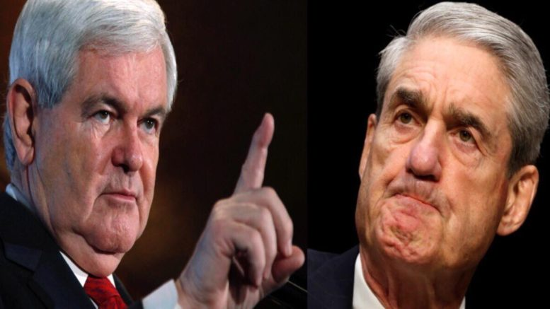 Newt Gingrich on Outnumberd Overtime with Harris Faulkner. Says Pres Trump should not meet with Mueller. Image source Left- usnnetwork, Right- Quartz. US4Trump compilation.