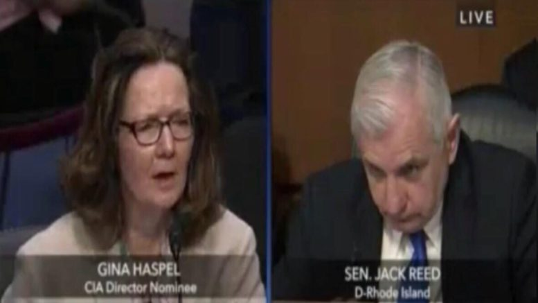 Gina Haspel during her Senate confirmation hearing. Image credit to US4Trump compilation sourced with video screen shots.
