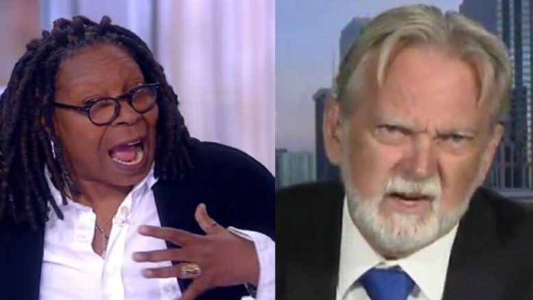 Whoopi challenges POTUS to waterboard. Image credit to US4Trump compilation from The View Screen Shot and Fox Screen Shot.