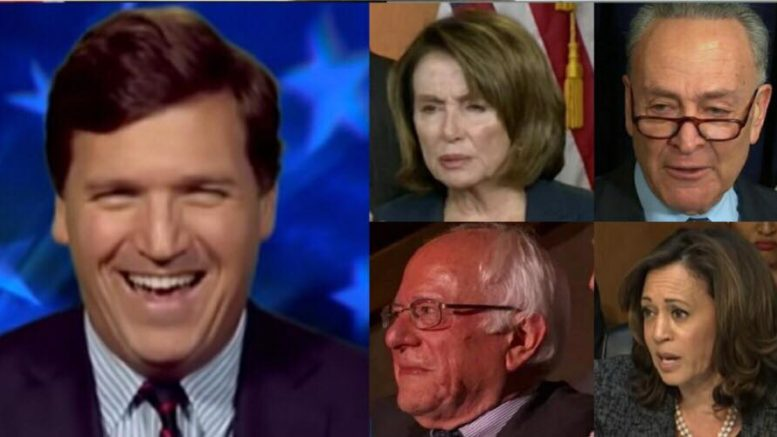 Tucker fries the Dem party on mid-term platform for supporting MS-13. Image credits to US4Trump compilation. Fox/CSPAN/BBC Screen Shots.