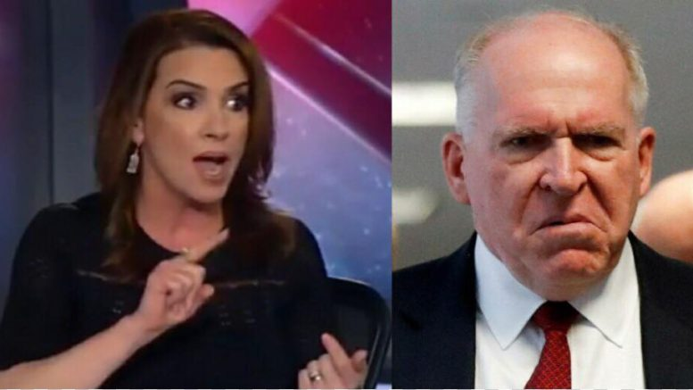 Sara A. Carter responds to disgraced former CIA Director. Image credit to US4Trump with Fox Screen Grab, MSNBC Screen Grab.