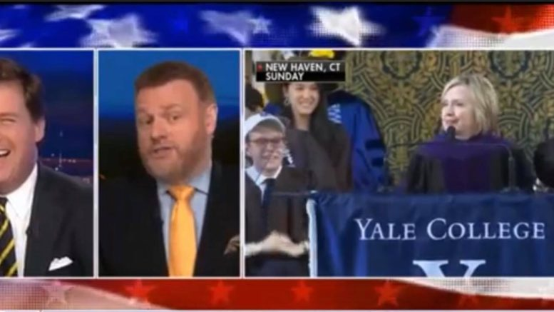 Mark Steyn roasts Clinton's Yale commencement speech. Image credit to US4Trump screen captures from Tucker Carlson Show.