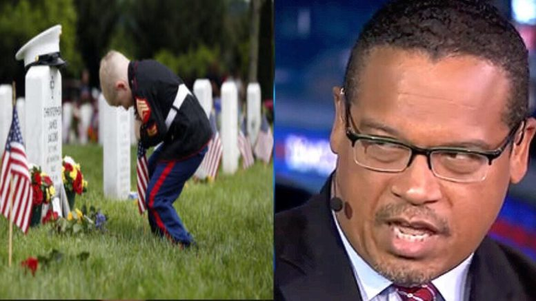 Memorial Day epic fail on Rep Ellison. Image credit to US4Trump compilation with WTOP & Alphanewsmn.