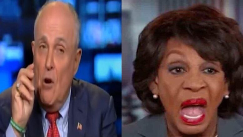 Rudy calls out Maxine's narrative on impeachment! Image Souce: US4Trump Compilation with video screen shot & YouTube.