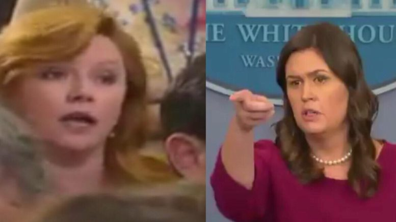 Sarah responds to reporter about Roseanne show. Image credit to US4Trump screen capture compilation