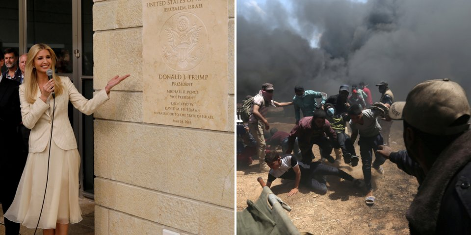 The left juxtaposes US Embassy opening in Jerusalem as Isralei soldiers fend off the Palestinians who oppose it. Photo credit to REUTERS/Ronen Zvulun/Ibraheem Abu Mustafa.