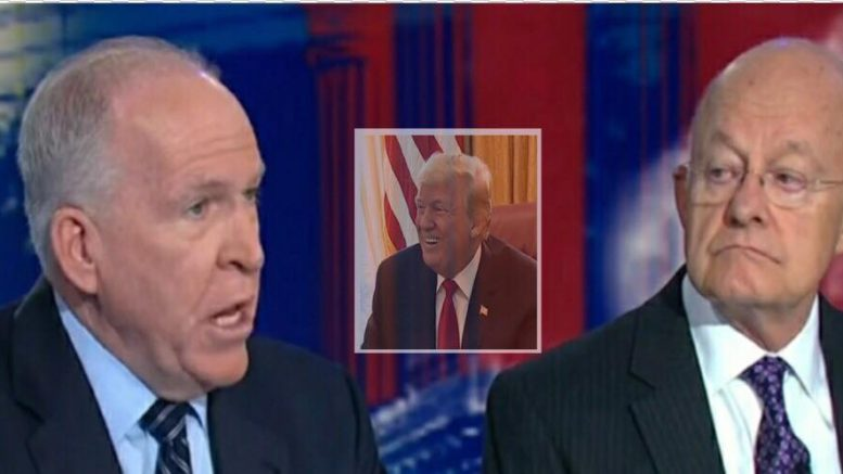 POTUS calls out disgraced former CIA Director, John Brennan on Twitter with Dan Bongino quote from Fox and Friends. Image credit to US4Trump with CNN Screen Shot/ White House Screen Shot.