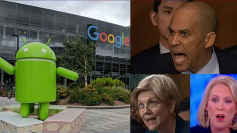 Google cancels location of DNC fundraiser. Image credit to US4Trump compilation with India Today, CNN, CNBC and The View screen grabs.