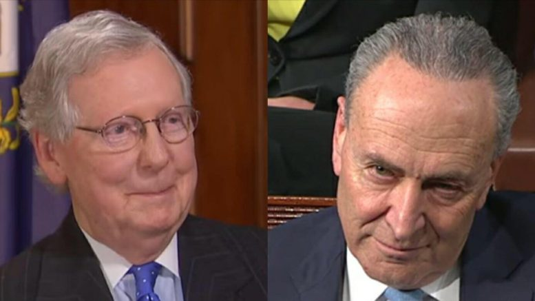 Mitch McConnell (KY-R) cancels 2018 Summer recess for the Senate except one week. Image credit to US4Trump screen capture compilation.