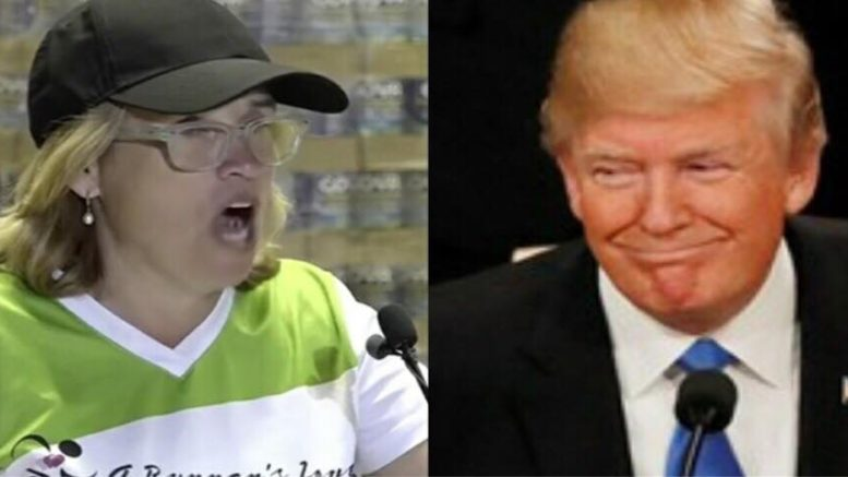 Anti Trump Mayor cleaning up her own backyard. Image credit to US4Trump screen capture enhancement.
