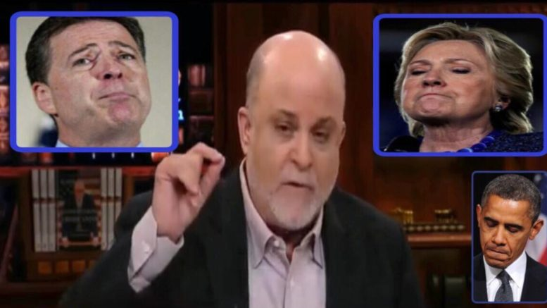 Mark Levin on Hannity responding to the Inspector General report. Image credit to US4Trump screen capture enhancements.