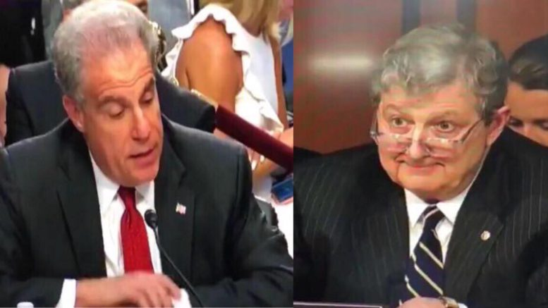 Senator Kennedy grills Horowitz on Capitol Hill. Image credit to US4Trump screen capture enhancement.