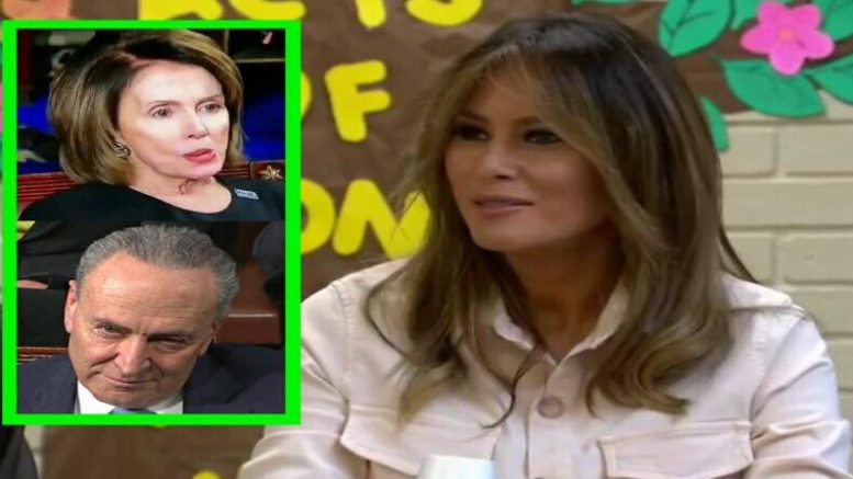 First Lady makes surprise visit to the border to check it out for herself. Image credit to US4Trump screen capture enhancements.