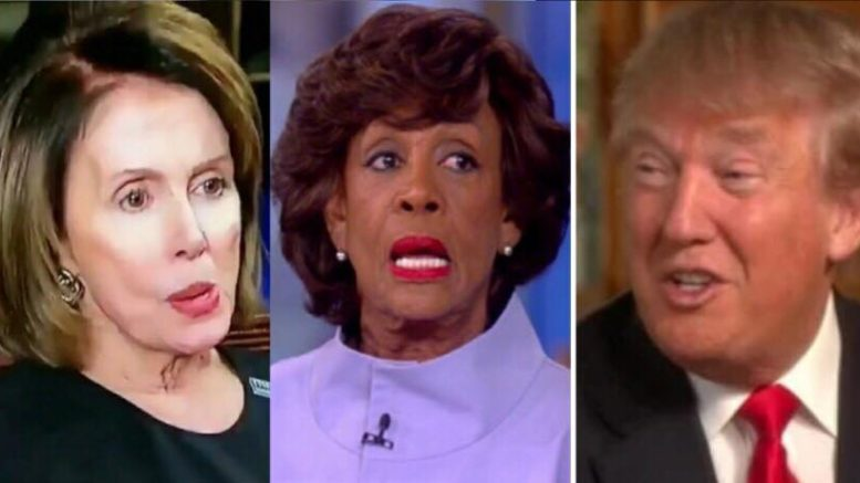 Nancy Pelosi tries to distance herself from Maxine Waters. President Trump tweets and the pair are now joined at the hip. Image credit to US4Trump screen captures and compilation.