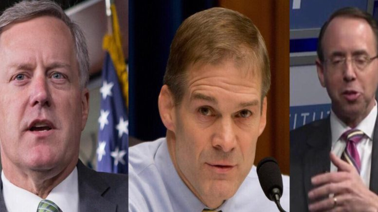 Meadows and Jordan throw down a House resolution on Rosenstein. Image credit to US4trump with Washington Examiner and screen capture compilation.
