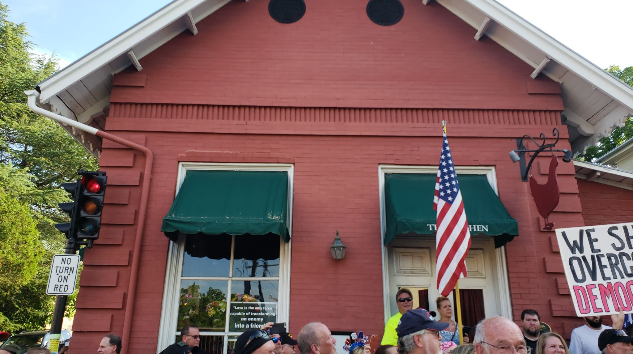 Bikers For Trump showcase the The Red Hen building in support of Sarah Huckabee Sanders. Image credit to Mackall W. Acheson III.