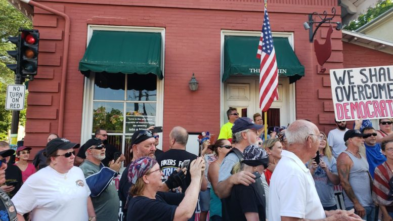 Bikers For Trump, Virginia Chapter ride to The Red Hen in support of Sarah Huckabee Sanders. Image credit to Mackall W.Acheson III and US4Trump enhancement.
