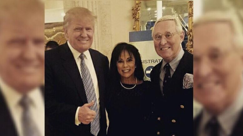 Judge throws out lawsuit against Roger Stone and Trump Campaign charging collusion with Russia, Wikileaks against DNC. Image credit to Roger Stone with US4Trump enhancement of DJT with Roger Stone and his wife.