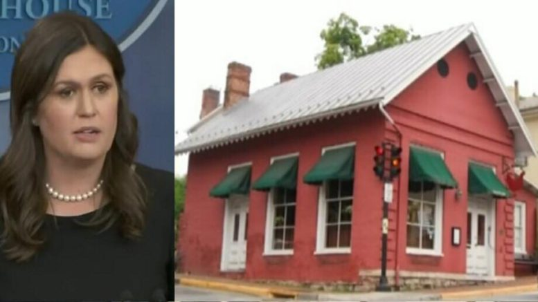 The Red Hen's review plummets. Photo credit to US4Trump compilation with (Left) White House Screen Capture (Right) WSLS Screen Capture.