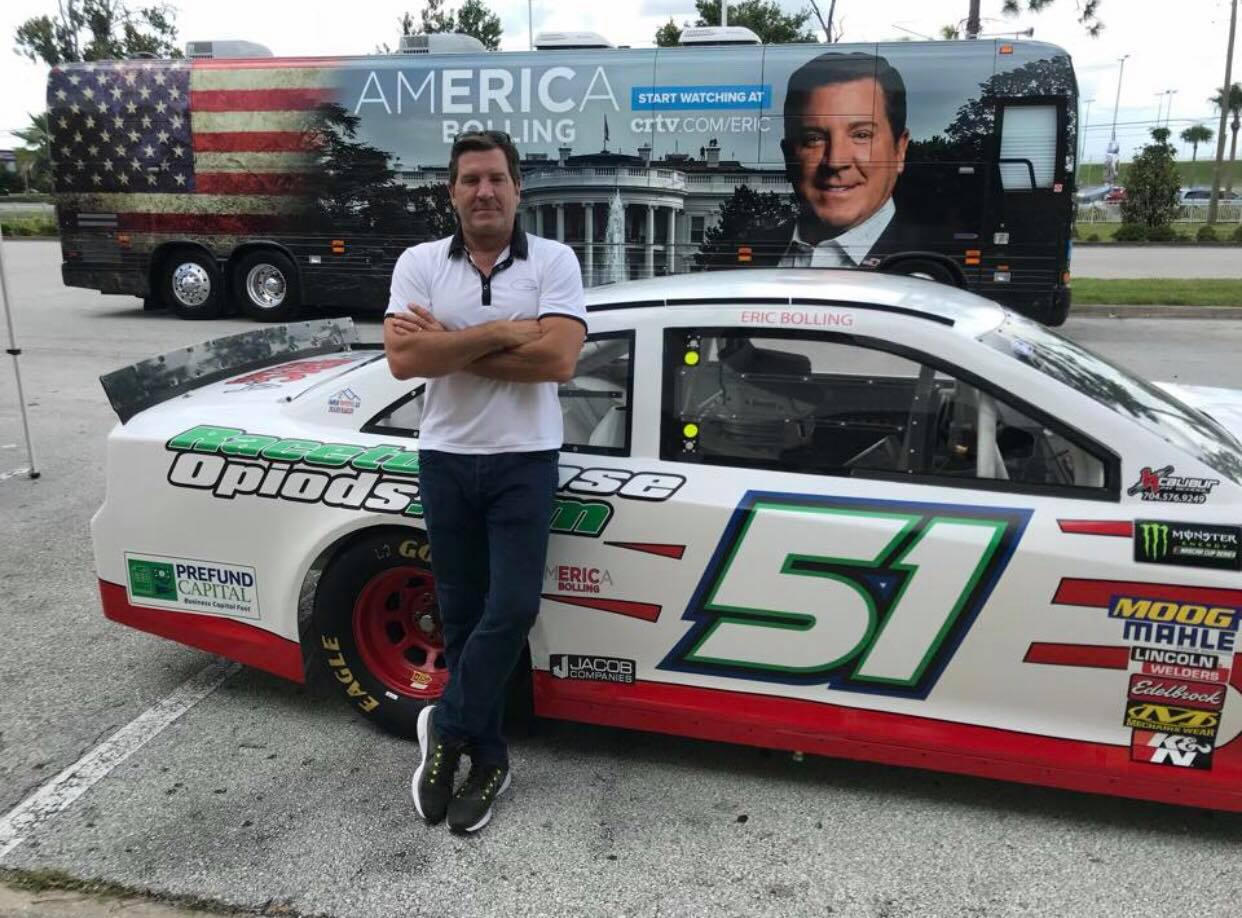 Eric Bolling in Daytona Beach, Florida for the AmERICa Bolling Bus Tour. Photo credit to Eric Bolling Facebook page.
