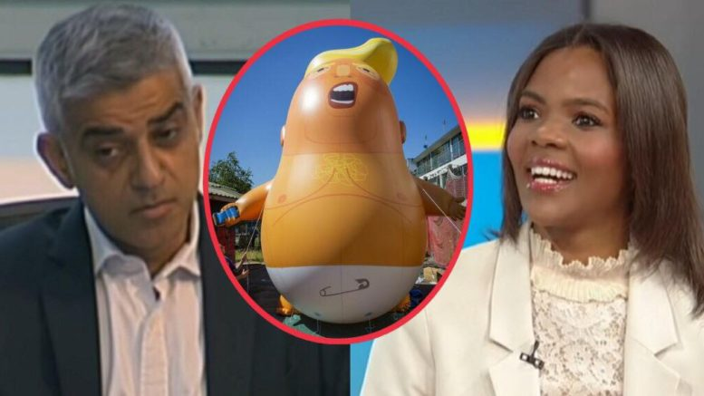 "Candace Owens responds to Sadiq Khan on his ""baby balloon"". Image credit to US4Trump compilation."