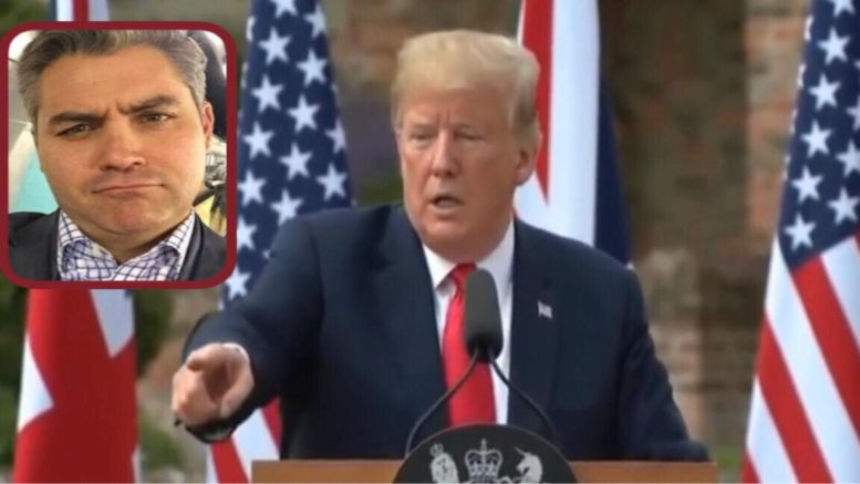 CNN and Pres Trump in Great Britain. Image Source: Video Screen Shot & SooperMexican by US4Trump compilation.