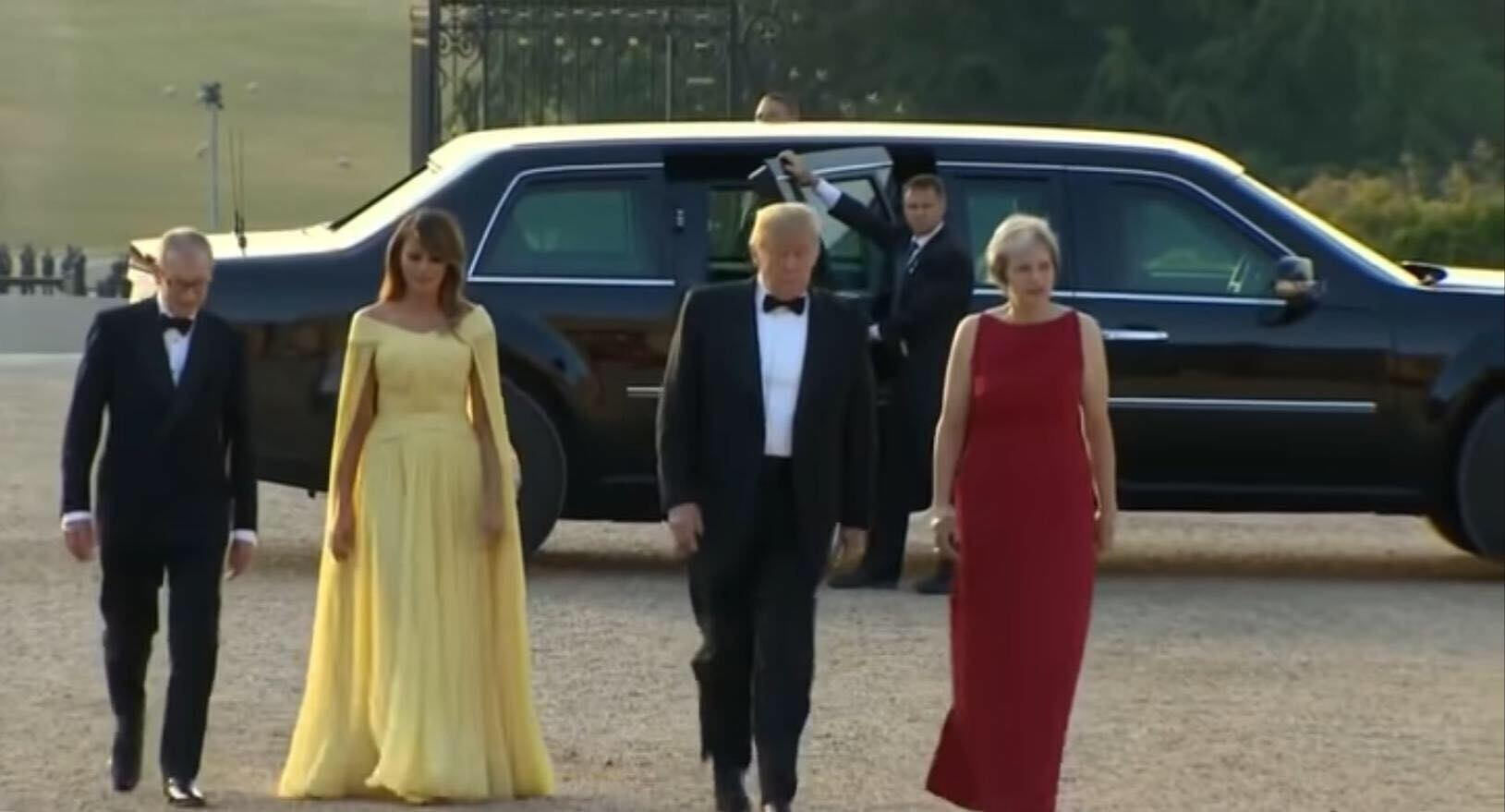 Theresa May greets POTUS and First Lady, Melania. Photo credit to screen capture by US4Trump.