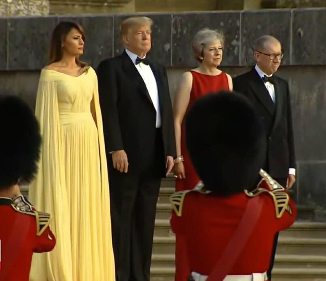Prime Minister May and POTUS at the steps of Blenheim palace. Photo by US4Trump screen capture.