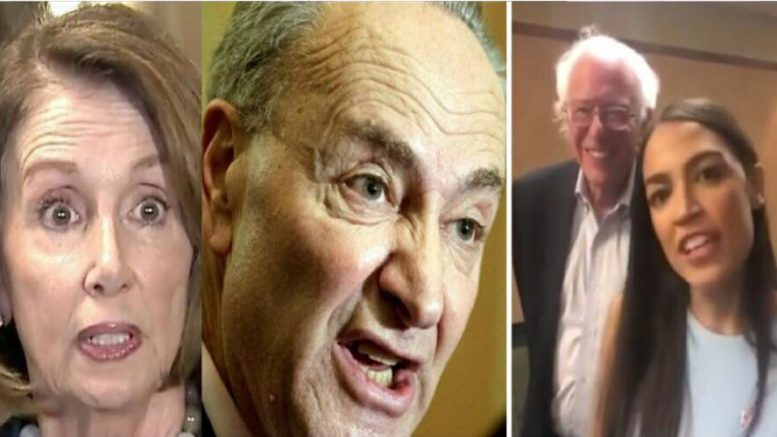 Cortez and Sanders totally embarrass the Dem party in HUGE on tape gaffe! Photo credit to US4Trump enhanced compilation with (L) Screen Grab, Quartz (R) YouTube Screen Grab.