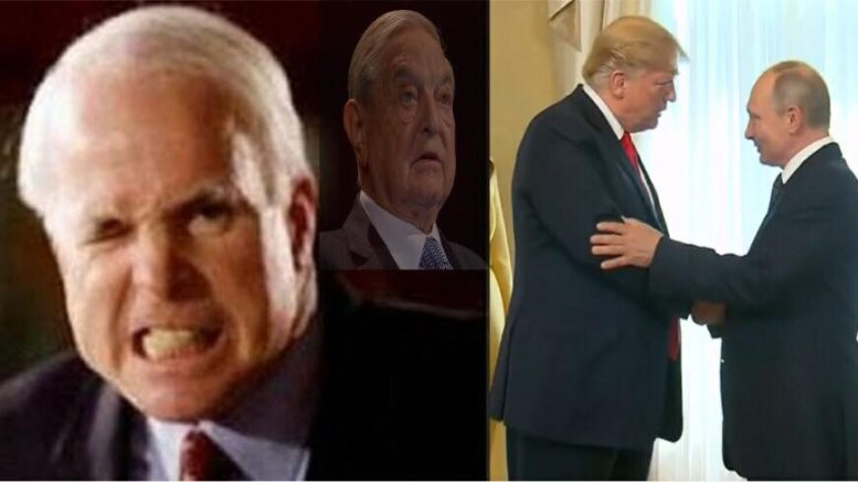 McCain and media slam President Trump on Helsinki Summit. Soros compliments Mccain. Polls show great Republican support for POTUS. Image credit to Wonkette, WH Screen Grab, US4Trump Compilation.