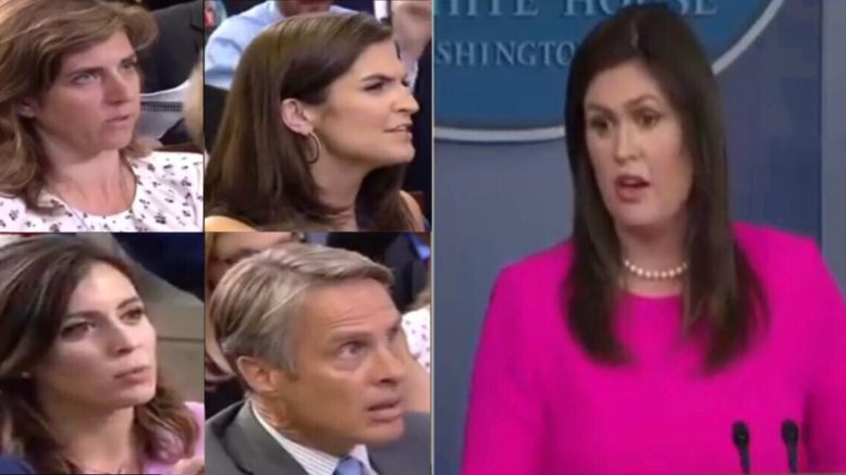Sarah repeats herself for four reporters. Image credit to US4Trump screen capture compilation.