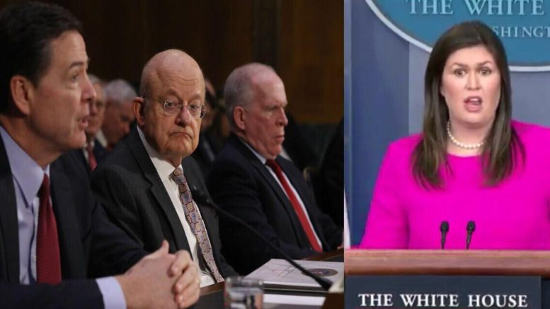 Press Secretary Sanders lists who else from the Obama era are at risk in losing their Security clearances. Photo credit to US4Trump enhanced compilation with (L) Pinterest and (R) video screen shot.