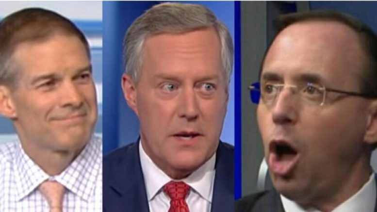 Meadows and Jordan join the Ingraham Angle with Laura and Gregg in an EXCLUSIVE on article of impeachment for AG Deputy Rosenstein. Photo credit to US4Trump screen grab compilation.