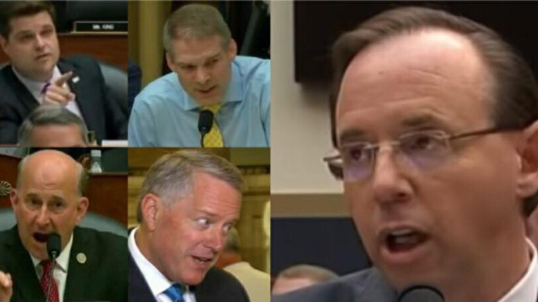 Eleven Congressmen from the House of Representatives make resolution to impeach Rosenstein. Photo credit to US4Trump with screen grab enhancements.