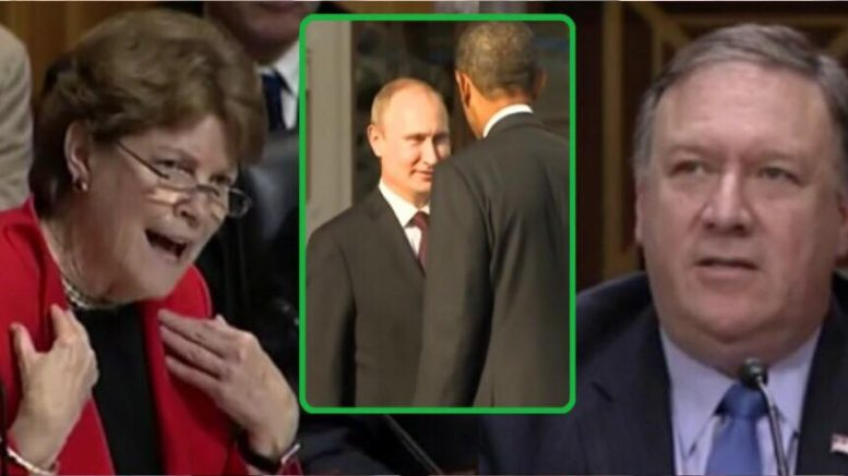 Pompeo swats down Dem Senator Shaheen in Foreign Affairs Committee meeting. Photo credit to US4Trump screen grab enhancement and compilation.