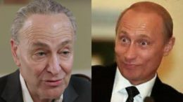 Schumer, literally, bows to Putin. Caught on live video! Photo credit to US4 Trum (L) The Fix (R) Twitter compilation.