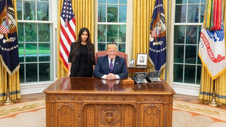 Photo credit to Fox News. Kim Kardashian-West discussed her Oval Office meeting in a recent late-night appearance. (The White House)