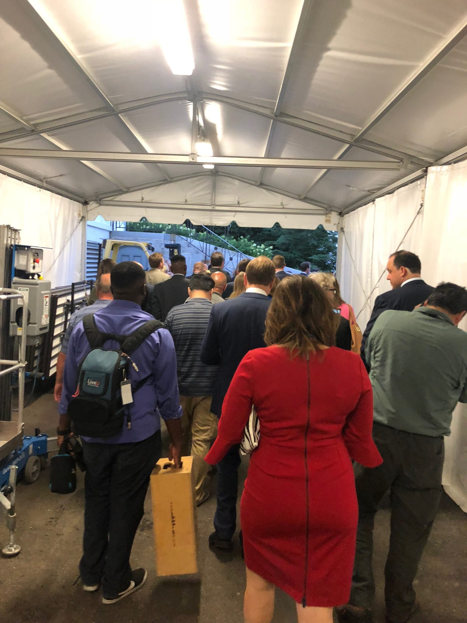 Reporters walk through the bowels of the White House to hear the SCOTUS nomination. Photo credit to Benny Johnson at The Daily Caller.