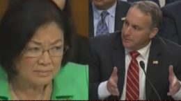 Democrat Senator Mazie Hirono questions ICE and melts into confusion. Credit photo to US4Trump